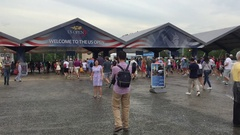 US Open Tennis spectators enter the famed tennis tournament in Queens. The Stock Footage
