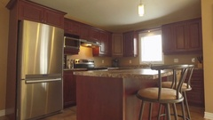Real estate nice kitchen rotating gimbal view 4k Stock Footage