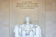 Abraham Lincoln Memorial Sitting Chair famous Landmark Closeup Phrase Washi.. Stock Photos