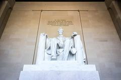 Abraham Lincoln Memorial Sitting Chair famous Landmark Closeup Phrase Washi.. Stock Photos