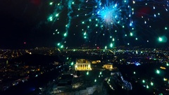Fireworks explode over the Acropolis during the New Year celebrations in Athens, Stock Footage