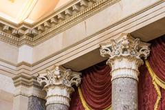 Closeup Decorative Collumns Ornate Detail Architecture Marble Texture Top S.. Stock Photos