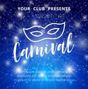 Carnival Mask, Masquerade, Mardi Gras. Glittering lettering design Stock Illustration