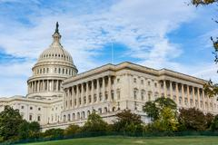 Daytime Landscape US Capitol Building Washington DC Grass Blue Sky Stock Photos