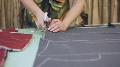 Scissors make cutting fabric Stock Footage
