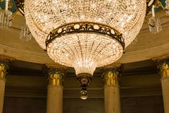 US Capitol Building Underground Crypt Chandelier Architecture Interior Hang.. Stock Photos