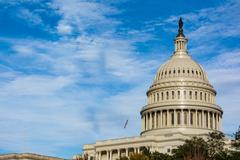 US Capitol Buiding Washington DC Dome Detail Closeup Alone Daylight Shadow .. Stock Photos
