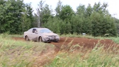 Offroad car in dirt with rednecks driving Stock Footage