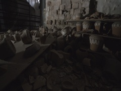 Room with broken clay dishes Stock Footage