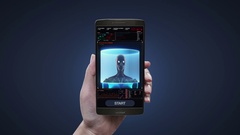 Touching health care application on mobile,scanning Human eyes system Arkistovideo