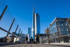 Uni Credit Tower Business Area Milan Italy Destination Travel SIghtseeing M.. Stock Photos