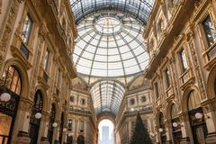 Galleria Vittorio Emanuele II Entryway Famous Destination Italy Architectur.. Stock Photos