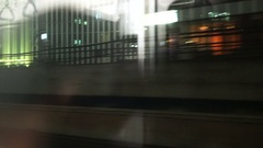 City view and night lights with train interior reflection through glass window Stock Footage