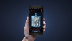 Touching health care application on mobile, scanning Human skeletal, bone. Stock Footage