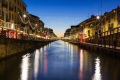 Milan Canal Naviglio Decorated for Christmas Winter 2016 Destination Travel.. Stock Photos