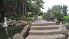Bridge over Artifical pond Stock Footage