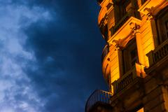 European Window Balcony Architecture Yellow Blue Twilight Cloudy Afternoon .. Stock Photos