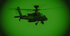 Night vision footage of a AH-64D apache longbow helicopter firing 30mm canon Stock Footage