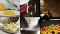 Collage from different videos of tasty food and drinks Stock Footage