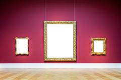 Art Museum Frame Red Wall Ornate Design White Isolated Clipping Path Template Stock Photos