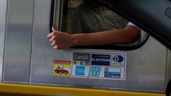 Italian toll station woman paying the ticket fee and gets exchange money Stock Footage