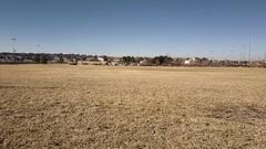 Soccer field in suburban park in snowless winter. Stock Footage