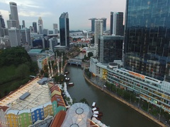 Flight towards marina bay clark quay bungy jump Stock Footage