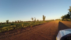 Late afternoon sun on Gibb River Road 4x4 Stock Footage