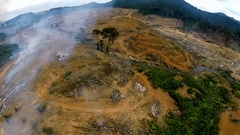 Consequences after the destruction of tropical forests. Aerial footage Stock Footage