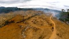 Arid desert in Africa after cutting and burning of tropical forest. Stock Footage