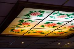Chinese Restaurant Skylight Traditional Typical Flowers Roses Illuminated L.. Stock Photos