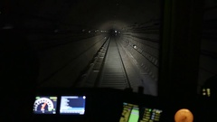 View from the cockpit of the Moscow metro driver. Stock Footage