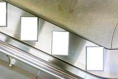Escalator Ad Space Advertisement Subway Station Metal Interior Clipping Path Stock Photos