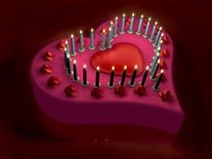 3d lit candle on red heart cake Stock Illustration