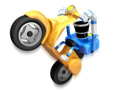 Blue camera Driving a motorbike dynamic. Create 3D Camera Robot Series. Stock Illustration