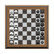 3d two color chessmans on the chessboard Stock Illustration