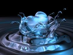3d bluewater made heart sinking into dark water Stock Illustration
