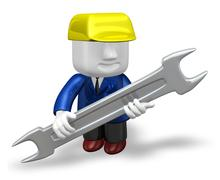 3d repairman under construction with his tool Stock Illustration