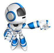 Blue robot character Punching to the right. Create 3D Humanoid Robot Series. Stock Illustration