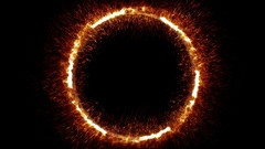 Seamless alpha of abstract ring of fire flame fireworks burning background Stock Footage