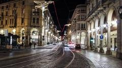 Torino via Pietro Micca Luci d'Artista timelapse Stock Footage