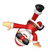 3D Santa mascot playing breakdance. 3D Christmas Character Design Series. Stock Illustration