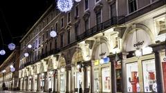 Torino via Roma Luci d'Artista Timelapse Stock Footage