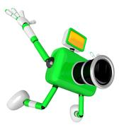 The Green Camera Character in Dynamic photos of the jump shot camera. Creat.. Stock Illustration