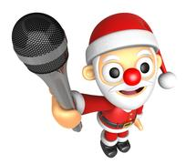 3D Santa character point a microphone. 3D Christmas Character Design Series. Piirros