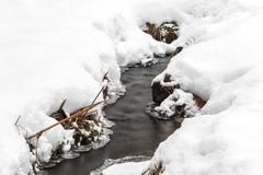 Small brook streaming in winter Stock Photos
