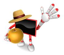 Red TV farmer mascot the right hand guides and the left hand is holding a P.. Stock Illustration