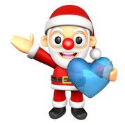 The Santa Mascot is holding a big Heart. 3D Christmas Character Design Series Stock Illustration