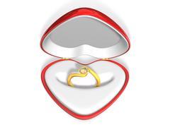 3d wedding gold diamond riog in red heart case Stock Illustration