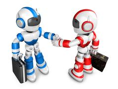 Shake hands Blue robot and Red robot facing each other. Create 3D Humanoid .. Stock Illustration